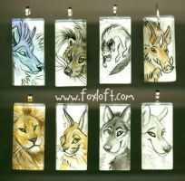 Sumi Glass Pendants - Group 8 by Foxfeather248
