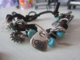 Turquoise Love Bracelet by bellybearz
