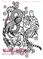 Tiger And Dragon Asian Yinyang by WildSpiritWolf