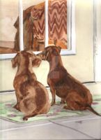 Waiting Dachshunds by RamonaQ