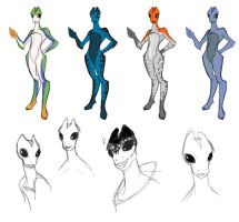 Salarian Females by evilsherbear