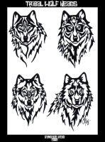 Tribal Wolf Heads by Ventisca-seer