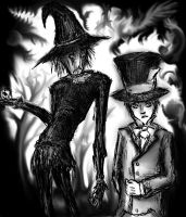 Scarecrow and Hatter by shaedofblue