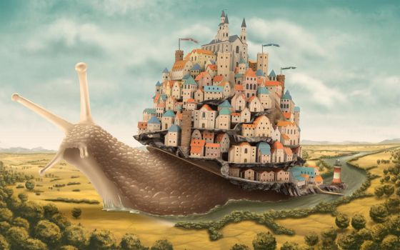snail moving houses by lechdemian