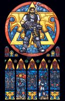 Stracraft's Terran Jim Raynor Stained Glass Window by nenuiel