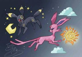 Day and Night feat Umbreon and Espeon by IzaPug