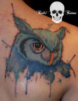 Watercolor owl tattoo by SimonaBorstnar