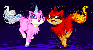 The two sides of Unikitty by Nomnivore8