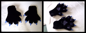 Black and Blue Wolf Paws by CuriousCreatures