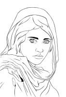 Afghan Girl Lineart by DinaCardillo