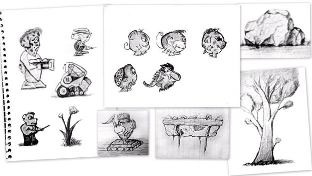 Characters and video game assets - sketches by peterlukacs