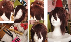 Souji Okita wig tutorial. by KyoyaxL