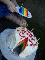 Rainbow Coconut Cake by keberle