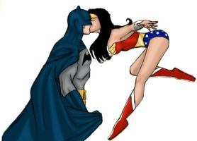 Batman and Wonder Woman smooch by Noah0z