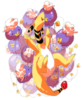 drifloon and ampharos by nastyjungle