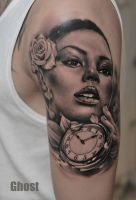 woman,watch,rose tattoo by mil5