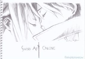 Kirito and Asuna - Sword Art Online pencil sketch by FrostyNightSky