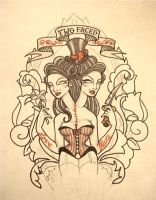 Two Faced Tattoo Design by Dollface801