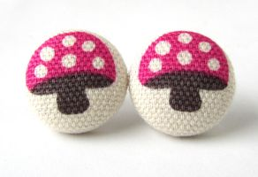 Mushroom earrings kawaii pink by KooKooCraft