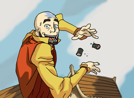 Aang on the Wall of Avatars by Juggernaut-Art