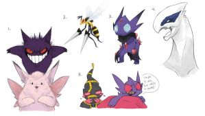 Pokemon Sketchdump 1 by AddSomePurple