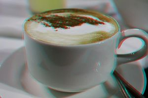 3d cup of coffee stereo photo by amirajuli