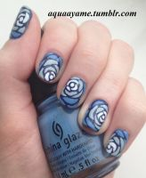 Blue Ombre Roses by aquaayame