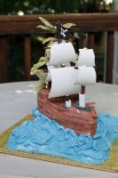 Pirate Ship Cake by hobbitchef