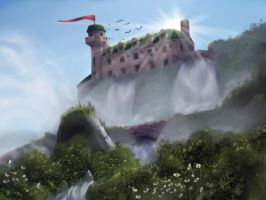 Mansion on a Waterfall by Yggdrassal