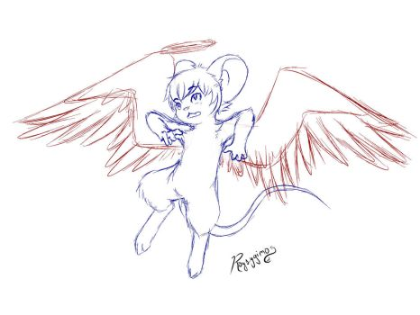 [Free Sketch] Angel/Boy/mouse by Roysygimo