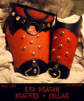 Red Dragon Bracers+Collar Set by TheScreamingNorth