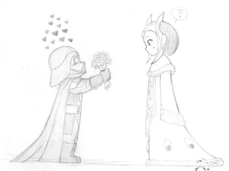 Star Wars - Darth Vader and The Queen of Naboo by KatyTorres