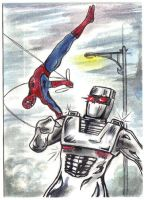 Rom spaceknight Spider Man team up sketch card by csuhsux