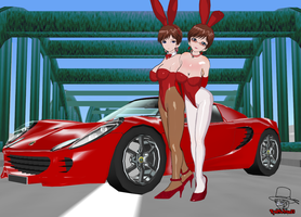 Red Bunny Ladies and Car by RedFalcon23