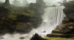 Waterfall Speedpainting by RaymondMinnaar