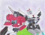 enjoying the comic Sideswipe and Prowl G1 by ailgara