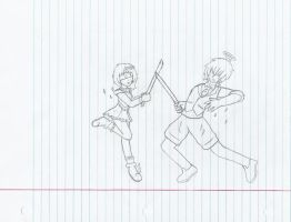 Alice and Daniel Sparring SKETCH by Code-Sonic