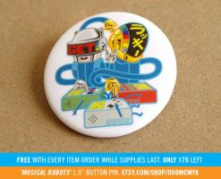 Musical Robots Button Pin by DoomCMYK