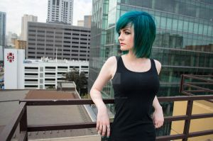 Blue Hair and the City G by spritepirate