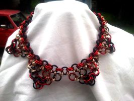 Black Red and Gold Chainmaile Choker by WyckedDreamsDesigns