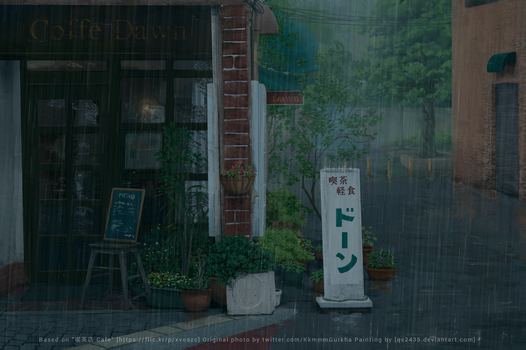 Rain on a Cafe - Practice #0.3/100 by qs2435