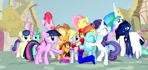 Group Hug For Derpy (The Mane 6) by Mario-McFly