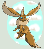 Flying Eevee by Kamajii-the-mog