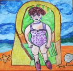 lovely lady in beach chair by ingeline-art