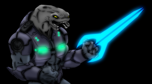 Sangheili with Sword by PD-Black-Dragon