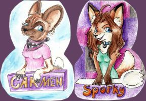 Sporky/ Carmen flippy badge by sporkyd00m