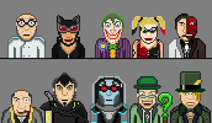 Arkham City Vilains in Pixel by sacolin99
