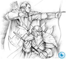 Legolas and Gimli by Demacros