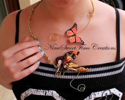 butterfly on magic wire necklace by NinaFimoCreations