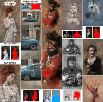 Vintage Sketch Photoshop Action by GraphicAssets